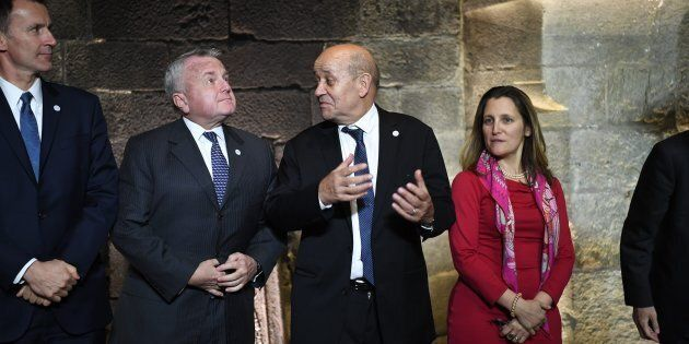 Britain's Foreign Secretary Jeremy Hunt, U.S. Deputy Secretary of State John J. Sullivan, France's Foreign Minister Jean-Yves Le Drian and Canada's Foreign Minister Chrystia Freeland in Dinard, France, on April 5 2019.