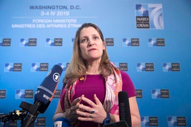 Chrystia Freeland speaks to media in Washington, D.C., on April 4, 2019.