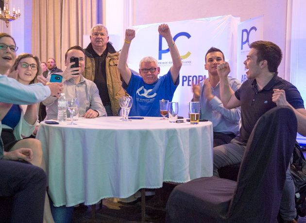 Progressive Conservative supporters cheer as they watch the returns in the Prince Edward Island provincial...