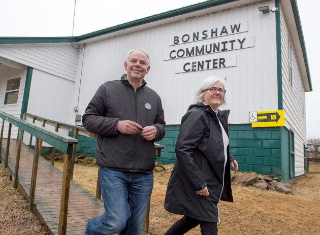 Peter Bevan-Baker and his wife Ann after voting in the Prince Edward Island provincial election in Bonshaw,...
