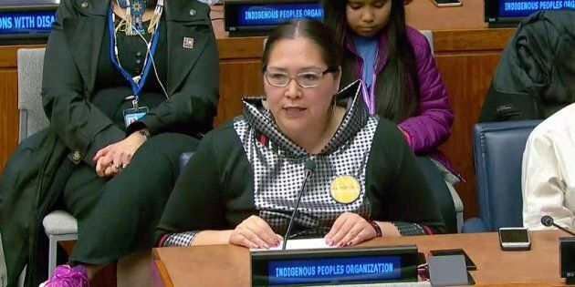 Aluki Kotierk, president of Nunavut Tunngavik Inc., spoke at a United Nations meeting on Indigenous Issues about how Inuit languages are endangered.
