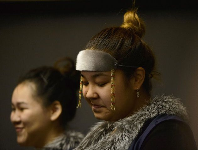 A member of a high school choir performs during a ceremony where Prime Minister Justin Trudeau delivered an official apology to Inuit for the federal government's management of tuberculosis in the Arctic from the 1940s to the 1960s on March 8, 2019.
