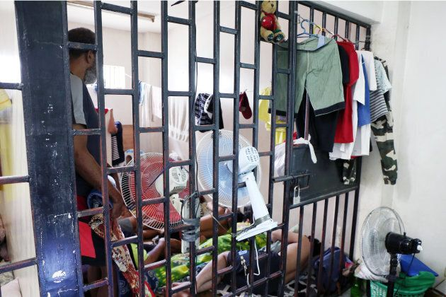 Suspects in cases involving violence against women and children are held in this cell at Philippine National Police headquarters in Manila before their court hearings.