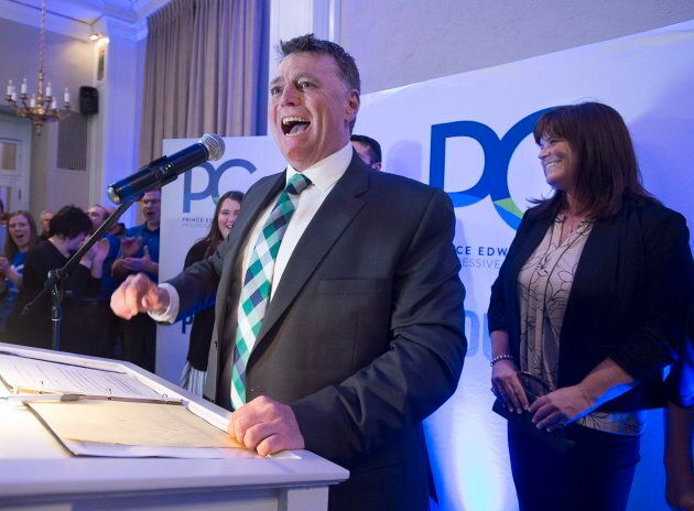 P.E.I. Progressive Conservative leader Dennis King, accompanied by his wife Jana Hemphill, right, addresses...
