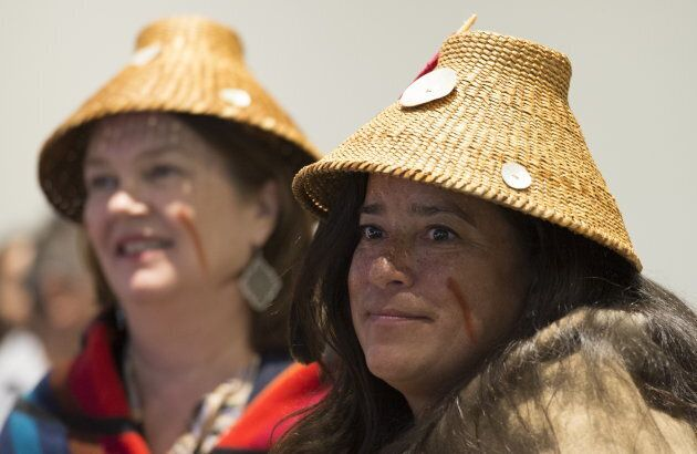 Jody Wilson-Raybould and Jane Philpott at the First Nations Justice Council in Richmond, B.C, April 24,