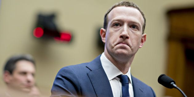 Mark Zuckerberg, chief executive officer and founder of Facebook, is seen here at a U.S. hearing in Washington,...