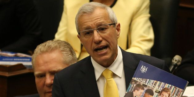 Finance Minister Vic Fedeli delivers the 2019 Ontario budget at Queen's Park in Toronto on April 11....