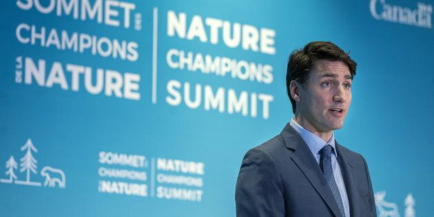 Prime Minister Justin Trudeau addresses the Nature Champions Summit in Montreal on April 25, 2019.