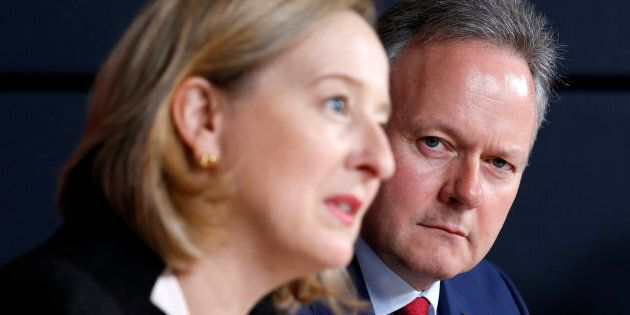 Bank of Canada governor Stephen Poloz, right, listens to senior deputy governor Carolyn Wilkins during...