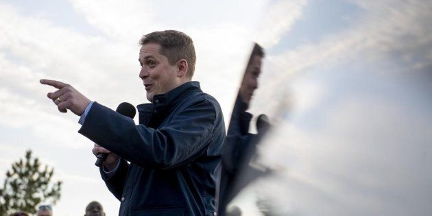 Conservative leader Andrew Scheer speaks to supporters before a door knocking event for volunteers in...