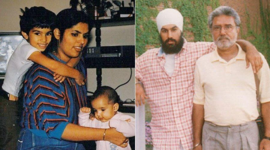 Jagmeet Singh, left in both pictures, poses with his mother and father in two undated