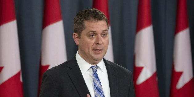 Conservative Leader Andrew Scheer speaks during a news conference in Ottawa on April 29,