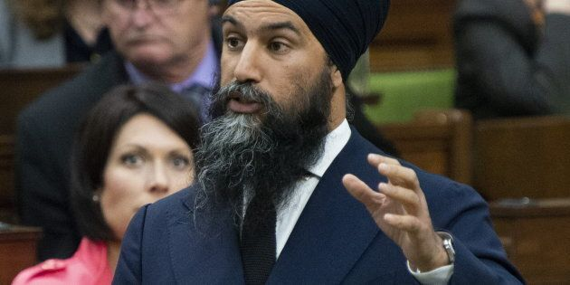 NDP Leader Jagmeet Singh rises during Question Period in the House of Commons on April 29, 2019 in