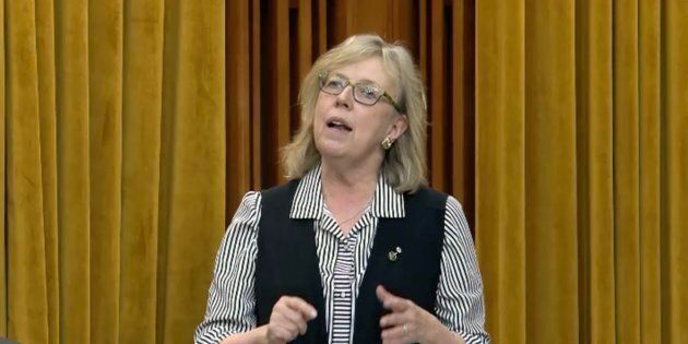 Green Party Leader Elizabeth May speaks in the House of Commons on April 29,