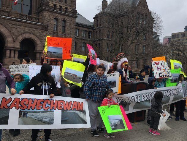 Kashechewan Chief Leo Friday speaks at a rally outside Queen's Park in Toronto on April 29, 2019. His community has been evacuated due to springtime flooding for the 17th year in a row.