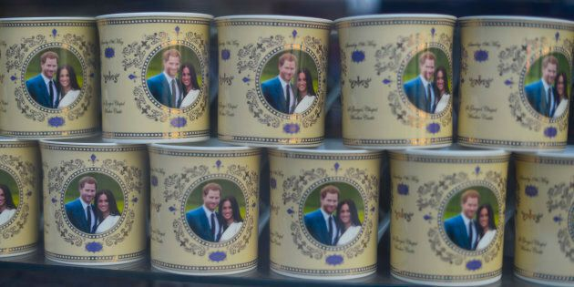 Souvenirs featuring Prince Harry and Meghan Markle in a gift shop in Central London on May 17, 2018,...