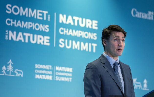 Prime Minister Justin Trudeau addresses the Nature Champions Summit in Montreal on April 25,