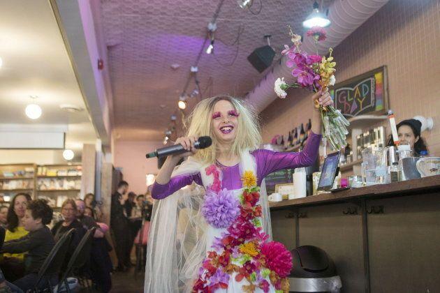 Laddy Gaga performs at Toronto's Glad Day Bookshop on Apr. 27,