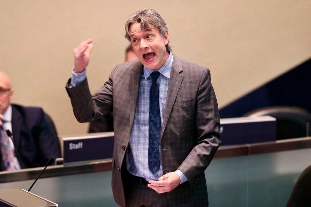 Toronto City Councillor Gord Perks at a council meeting.