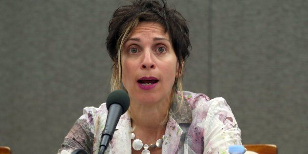 Leilani Farha, UN special rapporteur on adequate housing, holds a press conference in Seoul, South Korea in May 2018. She said the South Korean government should regard the right to housing as a part of human rights and take national action.