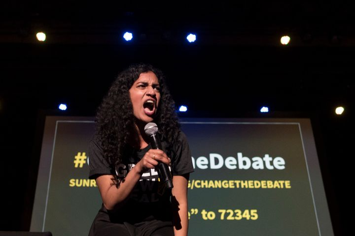 Sunrise Movement co-founder Varshini Prakash vowed to #ChangeTheDebate on climate change in the 2020 election.