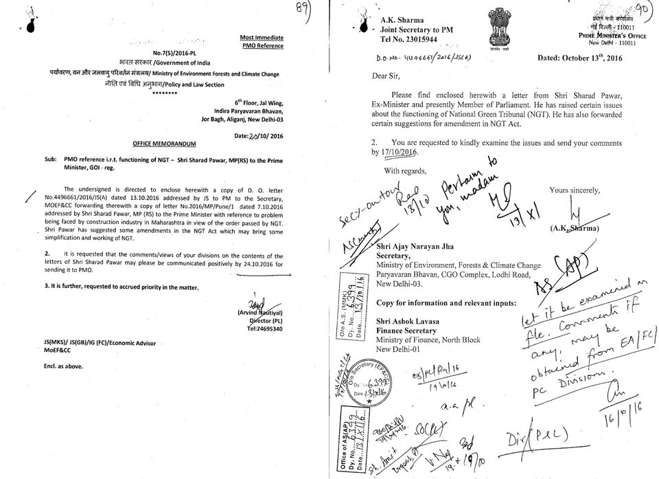 (Right) Letter from A K Sharma, Joint Secretary to Prime Minister, to then Environment Secretary Ajay...