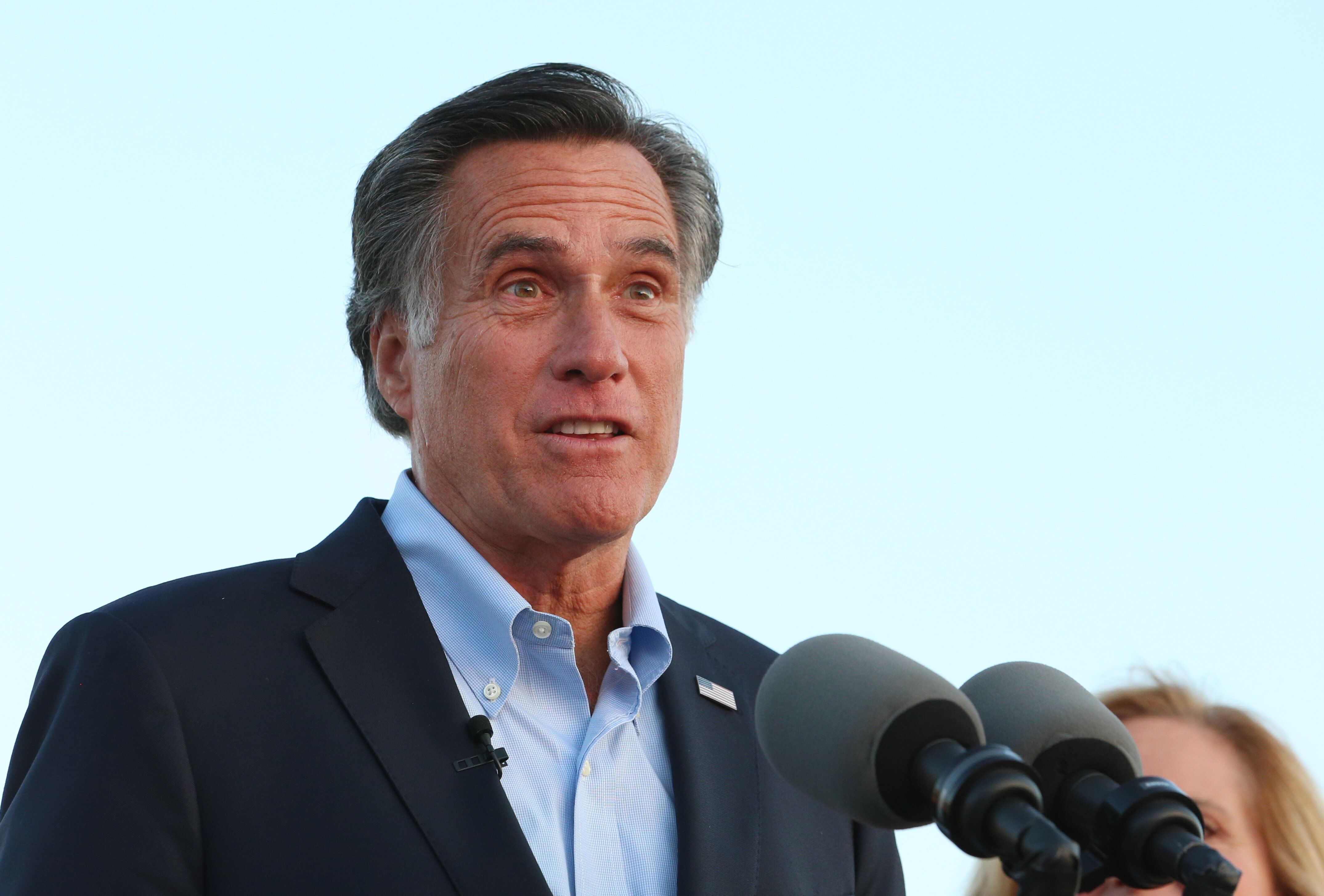 OREM, UT - June 26: Mitt Romney talks to supporters and declares victory on June 26, 2018 in Orem, Utah. Romney was declared the winner over his challenger Mike Kennedy in the Utah U.S. Senate seat of Senator Orin Hatch who is retiring.  (Photo by George Frey/Getty Images)
