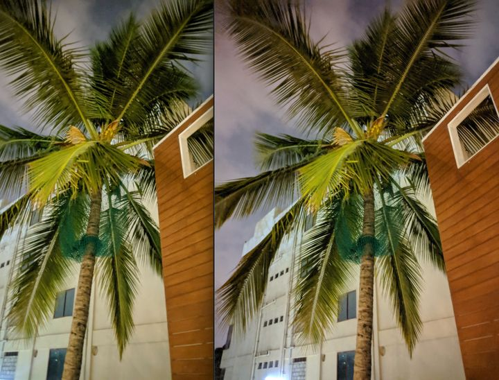 Outdoors night-time photograph taken with the Google Pixel 3 XL (Left), and the Google Pixel 3a XL (Right).