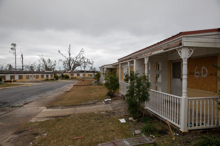 A boarded-up housing development sits damaged from Hurricane Michael in Panama City, Florida, in January. FEMA has said $1.1