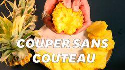 On a essayé cette méthode pour découper un ananas (mais elle ne sert à