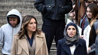 NEW YORK, NY - APRIL 15:  Mariska Hargitay and Nazanin Boniadi are spotted on the set of Law & Order SVU filming at 60 Centre Street on April 15, 2019 in New York City.  (Photo by Bauzen/GC Images)