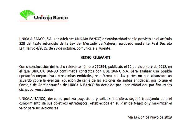 Divorcio en la banca: Unicaja y Liberbank rompen y no se