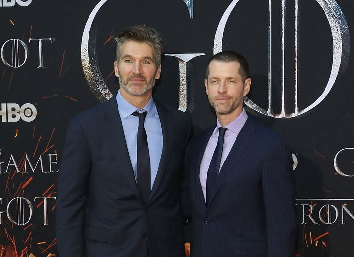 """David Benioff and D.B Weiss arrive at the """"Game of Thrones"""" Season 8 premiere."""