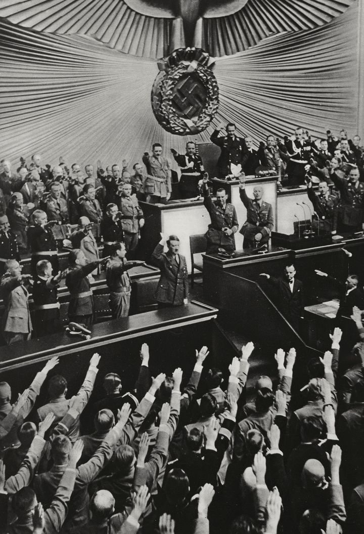 Adolf Hitler is saluted by the Reichstag in Berlin, Germany, now long before the start of World War II.