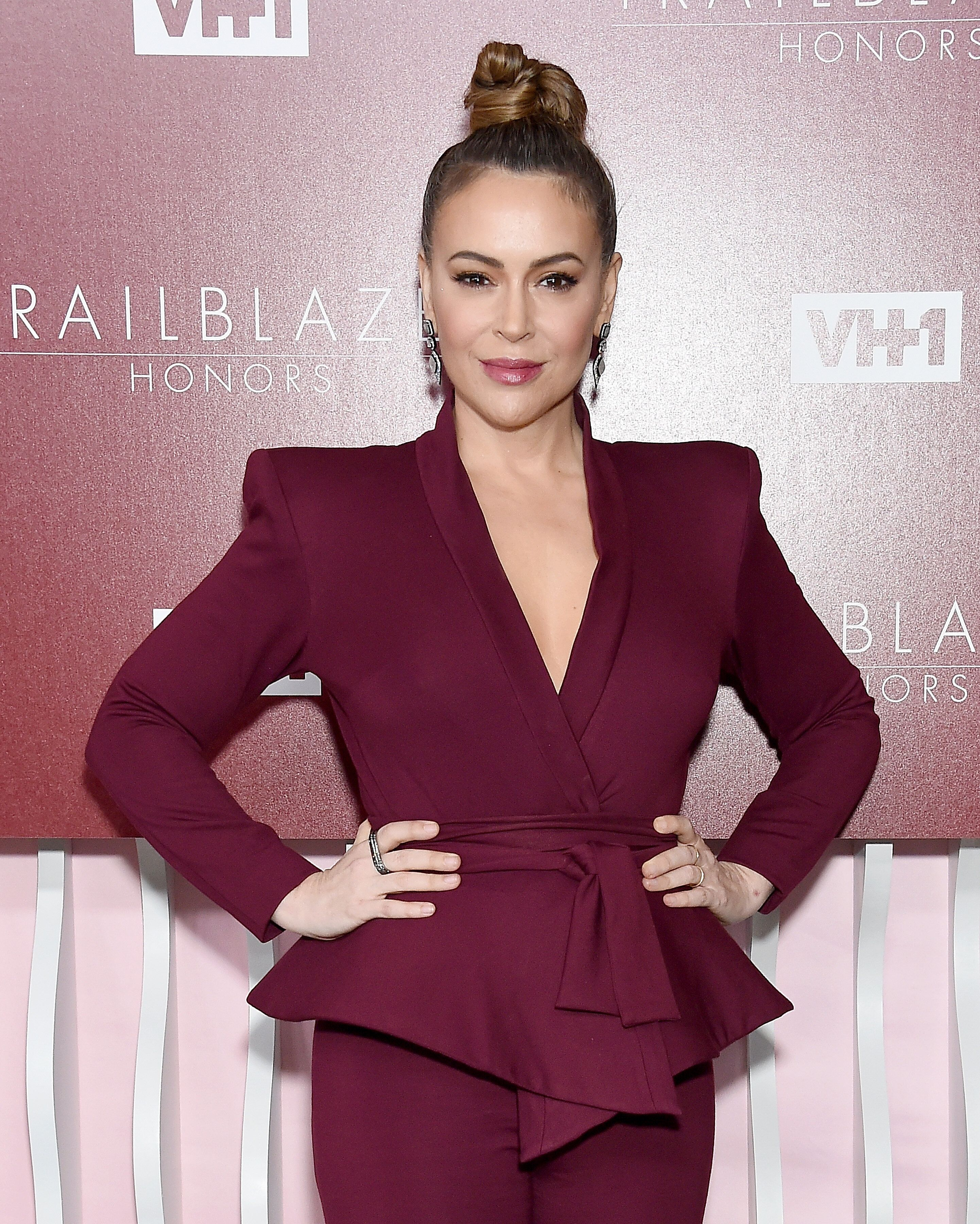 LOS ANGELES, CA - FEBRUARY 20:  Alyssa Milano arrives at VH1 Trailblazer Honors at The Wilshire Ebell Theatre on February 20, 2019 in Los Angeles, California.  (Photo by Gregg DeGuire/WireImage)