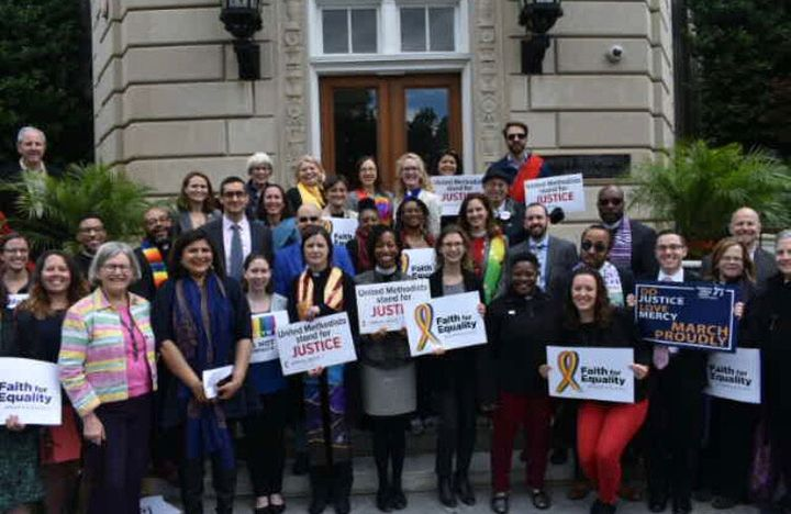 Interfaith leaders gather at the United Methodist Building on Tuesday to urge Congress to pass the Equality Act.