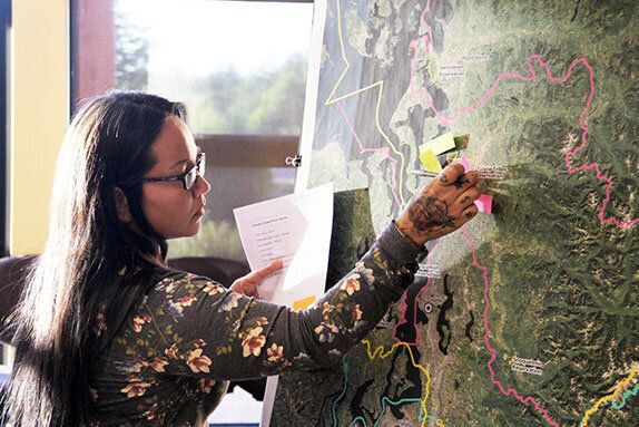 At a community meeting hosted by Tulalip's Natural Resource Department, community members share their top-five climate concerns for the area.