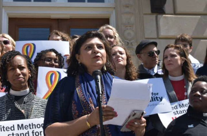 Urooj Arshad, co-founder of the Muslim Alliance for Sexual and Gender Diversity, speaks at the prayer rally.