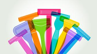 Colourful silhouettes of Disposable Plastic Razors