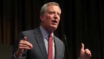 New York City Mayor Bill de Blasio speaks at the 2019 National Action Network National Convention in New York, U.S., April 3, 2019. REUTERS/Shannon Stapleton
