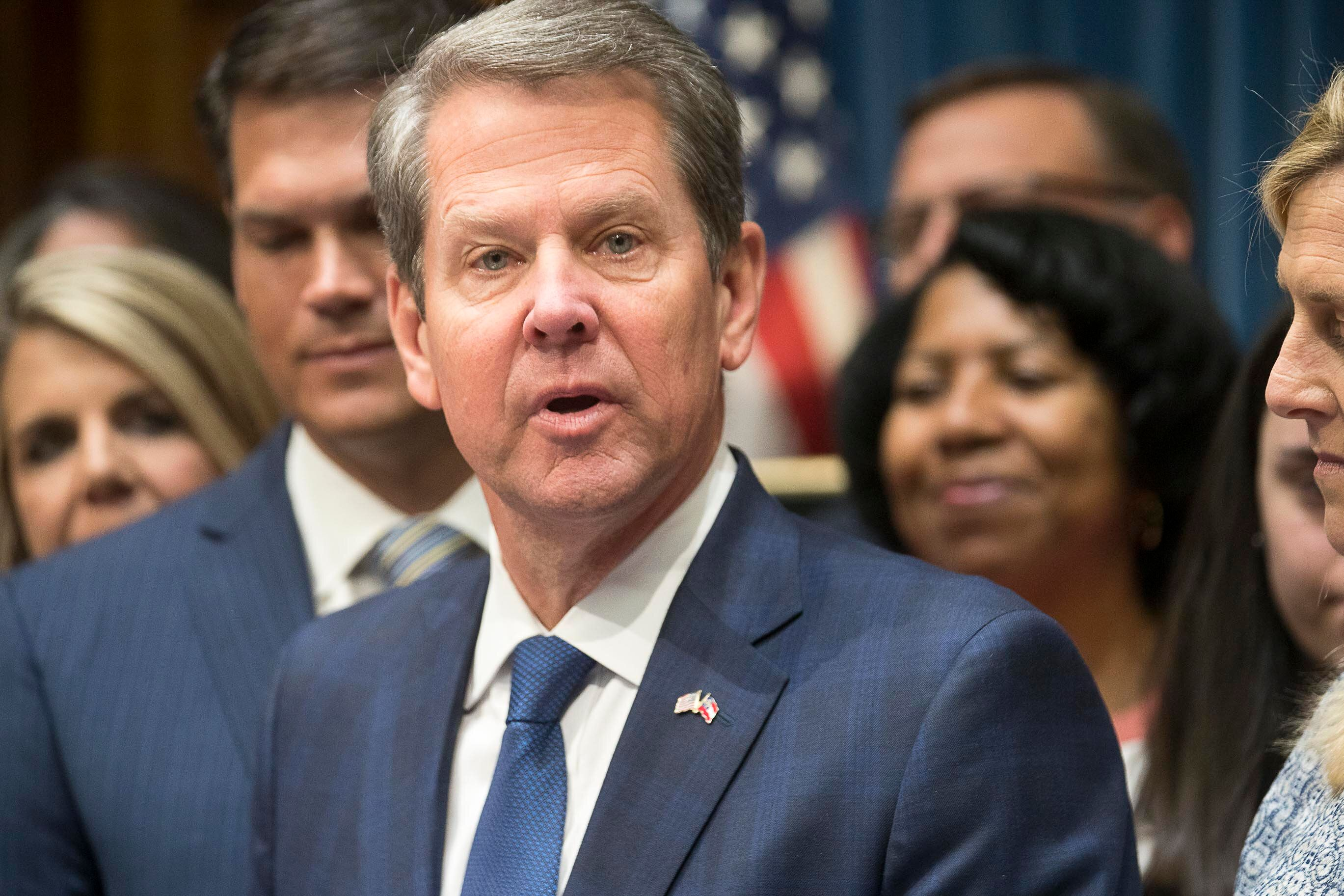 Georgia Governor Brian Kemp speaks during a press conference for the signing of HB 481 at the Georgia State Capitol building in Atlanta, Tuesday, May 7, 2019. Governor Kemp signed legislation on Tuesday banning abortions once a fetal heartbeat can be detected. (Alyssa Pointer/Atlanta Journal-Constitution via AP)