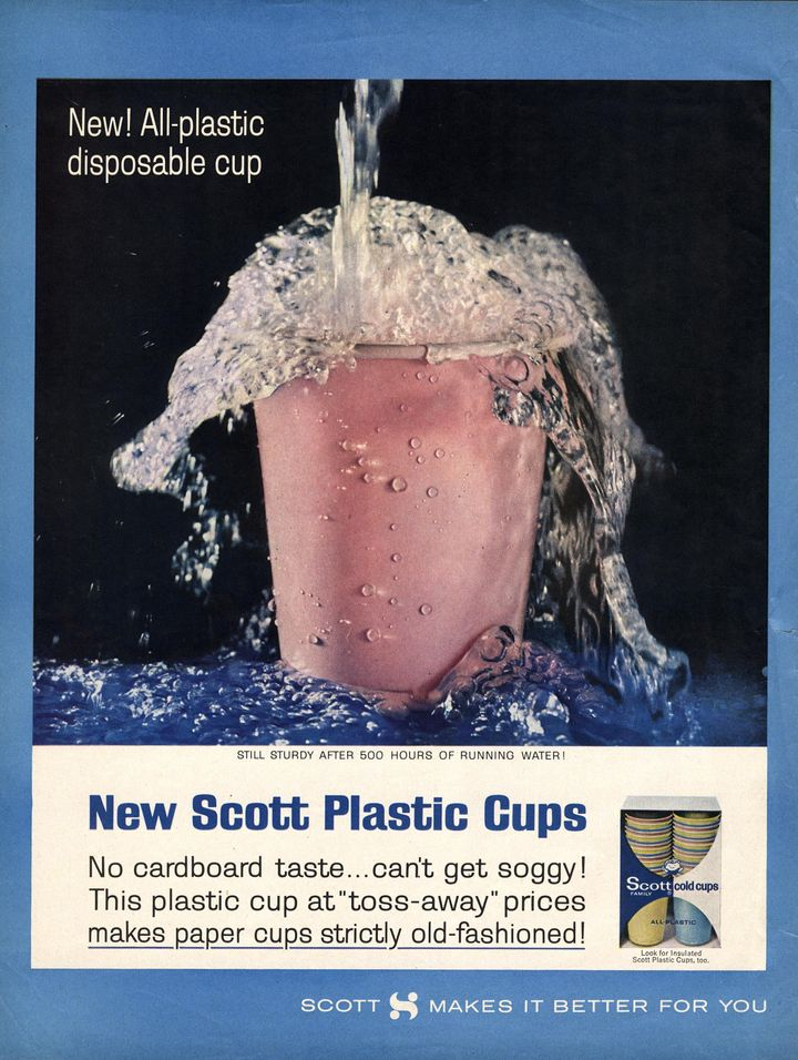 A 1960s magazine ad for disposable plastic cups tries to edge out similar products made of paper, emphasizing plastic's affor