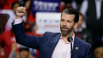 Donald Trump Jr. speaks ahead of his father President Donald Trump at a Make America Great Again rally Saturday, April 27, 2019, in Green Bay, Wis. (AP Photo/Mike Roemer)