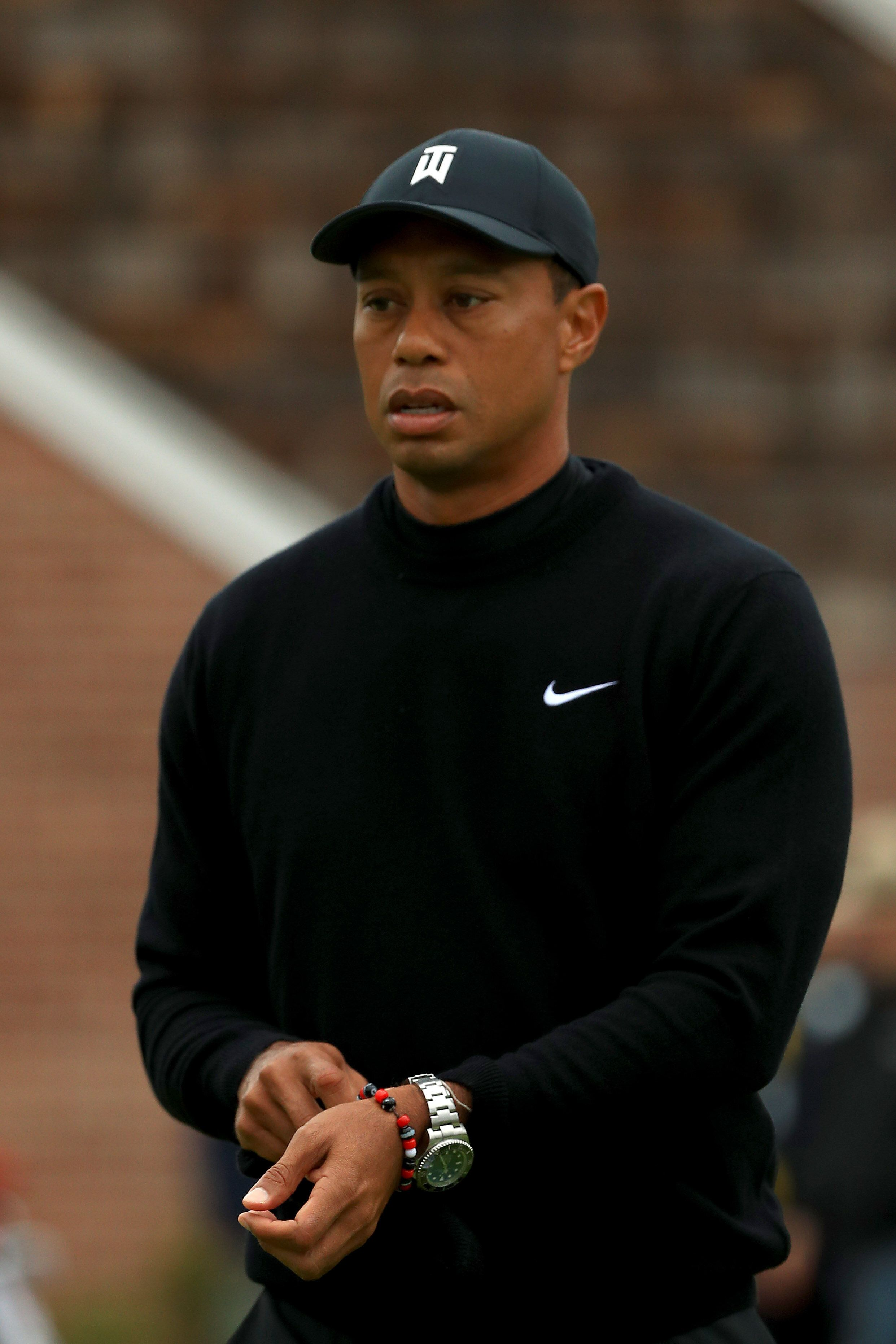 BETHPAGE, NEW YORK - MAY 14: Tiger Woods of the United States looks on during a practice round prior to the 2019 PGA Championship at the Bethpage Black course on May 14, 2019 in Bethpage, New York. (Photo by Mike Ehrmann/Getty Images)