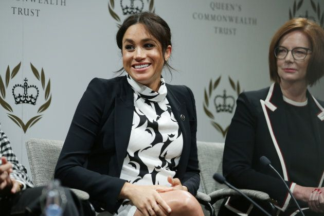 Meghan, Duchess of Sussex and former Australian Prime Minister Julia Gillard attend a panel discussion convened by the Queen's Commonwealth Trust to mark International Women's Day on March 8, 2019 in London, England.
