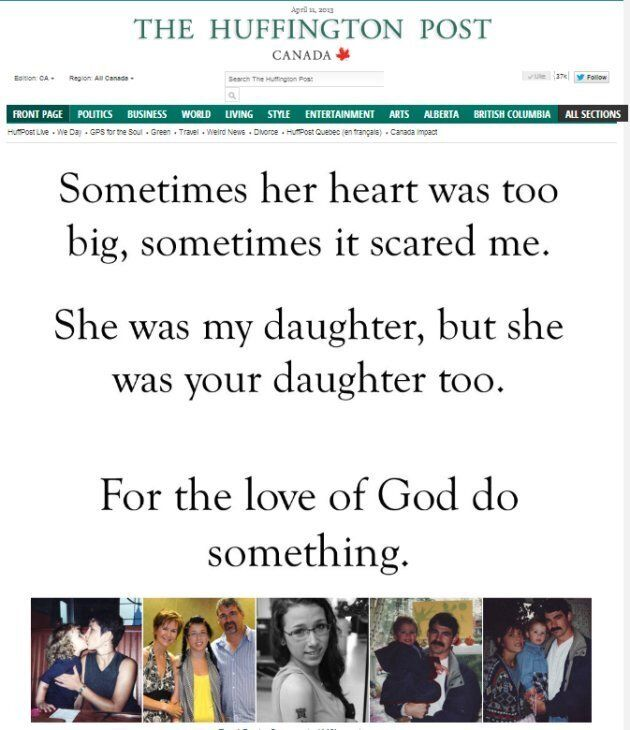 The front page of HuffPost Canada on April 11, 2013, featuring a blog by Glen Canning, father of N.S. teen Rehtaeh Parsons, who died by suicide.