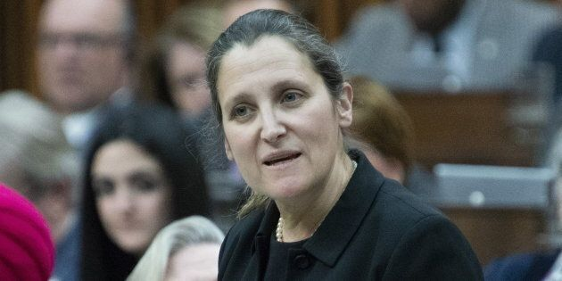 Foreign Affairs Minister Chrystia Freeland responds to a question during Question Period in the House of Commons on April 30, 2019 in Ottawa.