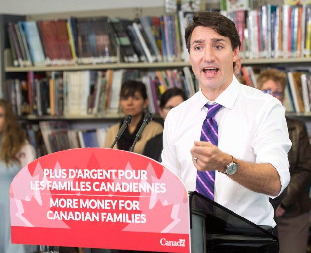 Prime Minister Justin Trudeau speaks to the media about changes to the Canada Child Benefit on Oct. 27,...