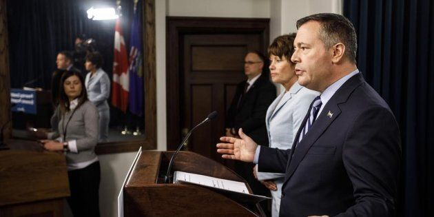 Alberta Premier Jason Kenney and Minister of Energy Sonya Savage speak to reporters in Edmonton on May...