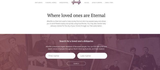 A screengrab shows the homepage of Afterlife.co. Its parent company has been ordered to pay $20 million...